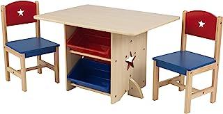 KidKraft 26912 星木桌和 2 把椅子套装,含储物盒,儿童娱乐室/卧室家具 - 红色和蓝色