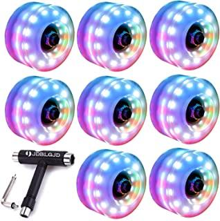 JDBLGJD 6 LED 溜冰轮 32 毫米 x 58 毫米,夜光溜冰鞋,室内或室外双排溜冰鞋和滑板安装轴承。(8 个彩色轮子和 1 个一体滑冰工具)