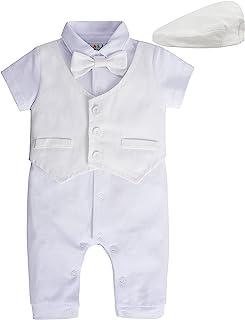 A&J DESIGN 新生儿男孩套装,2 件婴儿绅士连衫裤和帽子