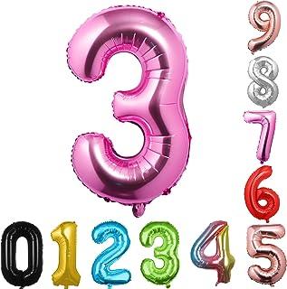 40 英寸大数字气球粉色气球巨型氦气球 数字 0 1 2 3 4 5 6 7 8 9 生日周年纪念派对婴儿淋浴婚礼装饰节日气球(粉色 3)