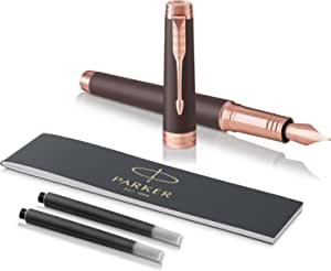 PARKER 派克 Premier 钢笔,精致笔尖,配有黑墨水墨囊,柔和棕色