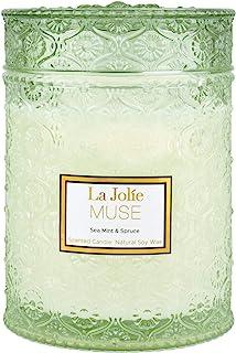 LA JOLIE MUSE 海薄荷和云杉香味蜡烛,大号罐蜡烛礼物,节日蜡烛礼物,木质烛芯蜡烛,11.8 盎司(约 550 克)