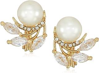 Anne Klein 经典金色珍珠纽扣夹式耳环,均码
