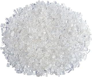 Jovivi 0.45 磅天然玫瑰水晶透明石英滚磨芯片碎石不规则**水晶宝石花瓶鱼缸植物家居装饰 透明石英水晶 AJ2000632