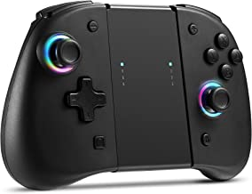 BINBOK Joypad 开关控制器 无线 Joy Con 8 种 LED 颜色 带背面按钮的Joypad 控制器 遥控游戏手柄 可调节涡轮振动动作 人体工程学 开关控制台配件