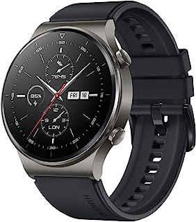HUAWEI Watch GT 2 专业运动智能手表(35 毫米 AMOLED 显示屏,SpO2 监测,心率监测器,音乐播放和蓝牙通话,5 ATM,GPS)夜黑