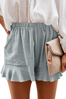 NEYOUQE 女式棉质亚麻休闲夏季弹性腰部舒适短裤带口袋