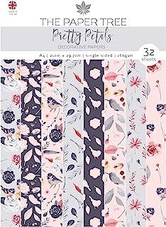 Paper Tree 漂亮花瓣衬纸,灰色和粉色,A4
