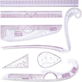 E.YOMOQGG 缝纫尺工具套装 8 件面料, DIY 测量布修剪器法国曲线适用于化妆服装测量工艺, 设计师图案制作机裁缝机的公制塑料尺(8 件)