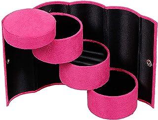 KADBLE 3 层隔层珠宝盒,迷你天鹅绒旅行卷式收纳盒,带按扣封口(玫瑰红)