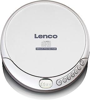 Lenco CD-201 便携式 CD 播放器 Walkman 唱片 CD Walkman MP3 功能 防震功能 带耳机和麦克风 USB 充电线 银色