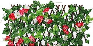 EKDJKK 人造叶子筛网 常春藤叶树篱面板 隐私花园围栏 阳台 人造花篱笆 露台 人造花绿篱 适用于露台户外(红色)