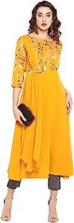 Janasya 印度女式芥末涤纶绉纱衬衫