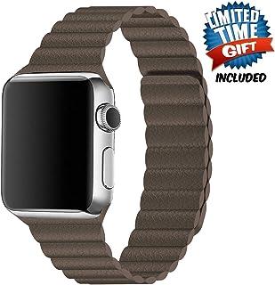 Inno-Huntz 皮革表帶兼容 Apple Watch 38mm 42mm 經典表帶替換表帶適用于 IWatch 系列 4 3 2 1 強磁扣男士女士腕帶 38mm/40mm 棕色