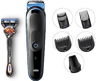 Braun 博朗 7 合 1 胡须修剪器和理发器,一体式修剪器 MGK5045,13 种长度设置,仅 4 个梳子,细节修剪器附件,黑色/蓝色