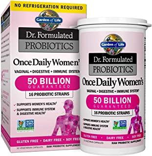 Garden of Life Dr. Formulated 女性益生元补充剂,每天一次,为女性提供了500亿CFU的益生元和益生元纤维,每天可以稳定保存一次无麸质乳制品或大豆的益生元,30粒