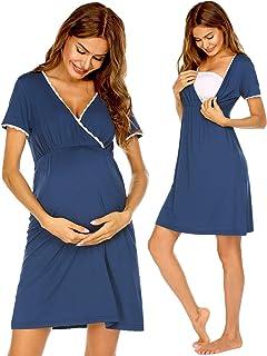 Ekouaer 女式配送/人工/孕妇/哺乳睡衣无袖孕妇长裙 *哺乳连衣裙