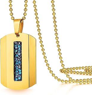 ETEVON 男士项链不锈钢矩形吊坠狗牌球链项链,适合儿子生日珠宝送给男友、丈夫爸爸的礼物