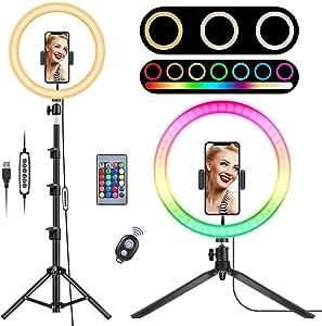 12.6 英寸(约 32.0 厘米)RGB 自拍环灯,带支架的LED环形灯,带 2 个三脚架支架和遥控快门 27 种灯光模式和 10 个亮度级别,用于实时流/化妆/YouTube 视频/摄影(*)