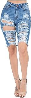Love Moda 女式高腰破洞做旧百慕大牛仔短裤舒适弹力