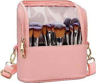 化妆刷袋,立式化妆杯,专业化妆刷收纳袋,旅行化妆包,艺术家储物袋,带可调节分隔器和肩带(粉色) 粉红色 小号
