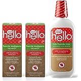 Hello Oral Care 儿童天然野生草莓氟牙膏,4.2 盎司(2 瓶)+ 儿童草莓氟化物漱口水,16 盎司