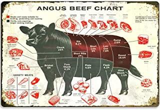 牛金属标牌 安格斯牛肉图复古海报墙壁装饰厨房浴室农场酒吧咖啡厅卧室 30.48 X 40.64 厘米