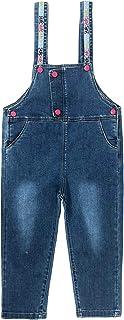 Yao 3-12Years 女孩连身衣和连衫裤大童围兜连体衣蓝色可调节腰带牛仔色可换亮亮片裤