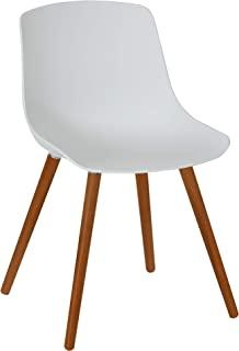 Greemotion Halifax 塑料花园椅带 FSC * Acacia 木腿,圆形摇椅,复古休闲椅,塑料餐椅,户外庭院花园座椅,约 52 x 81 x 58 厘米,白色/棕色