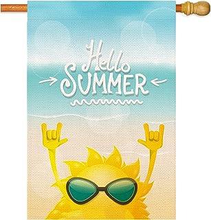 Hello Summer House Flag 垂直双面粗麻布房旗,季节性户外庭院装饰横幅标志农舍门廊家居装饰71.12 X 101.6 厘米