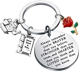 KUIYAI 美女与野兽钥匙扣童话珠宝贝尔玫瑰魅力钥匙扣励志礼品永远记住你勇敢的比你相信的钥匙链