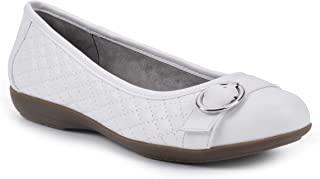 CLIFFS BY WHITE MOUNTAIN 女式 Clara II 舒适平底白色/光滑尺码 7W 芭蕾,7 宽