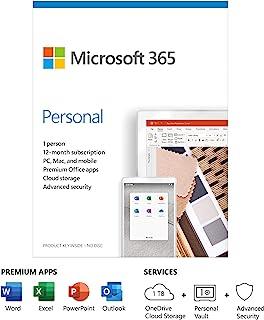 Microsoft 365 个人 | Office 365 应用程序 | 1 位用户 | 1 年订阅| PC/Mac,平板电脑和电话 | 多语言 | 包装盒