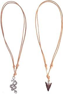 FROG SAC 2 件套龙和箭银吊坠项链 - 浅棕色可调节皮革绳 - 男士*礼物 - 优质时尚珠宝