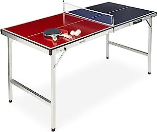 Relaxdays 中性 - 成人可折叠乒乓球板,便携,网,2 个球,3 个球,铝,中纤,高宽:67.5 x 151 x 67.5 厘米,红蓝色,78