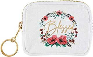 Blessed 白色花卉念珠盒,带金色钥匙链和卡槽,基督教旅行念珠架,3.75 英寸(约 9.5 厘米)