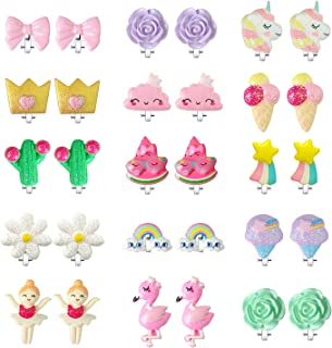 EleMirsa 15 对夹式耳环适合小女孩儿童幼儿派对礼品公主装扮游戏耳环独角兽心形珠宝套装