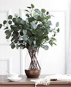 Oriental Goodpick - Life Like 仿真 5 件银元桉树 - 65.02 厘米高 - 适用于房间、桌子、花环 - 弹性仿绿植花环 - 假干线塑料喷雾树枝叶