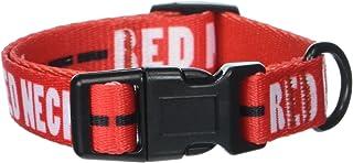 Punchline 宠物红颈软尼龙可调节红色狗狗项圈带塑料扣 红色 小号