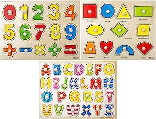 TOYSERY 幼儿木制拼图,3 套儿童*玩具,幼儿*玩具,儿童*拼图,儿童学龄前儿童拼图,3 岁以上儿童学习拼图礼物