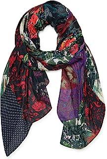 Desigual 女士 FOU_NINI PATCH DIGITAL RE 时尚围巾,黑色,U