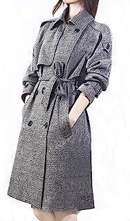 Mandy Luv 女式时尚格子冬季双排扣羊毛混纺格子风衣外套带腰带夹克