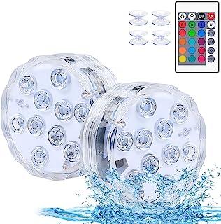 带遥控全防水泳池灯的潜水式 LED 灯,适用于地下游泳池,16 种颜色适用于池塘派对泳池喷泉水族箱,2 件装