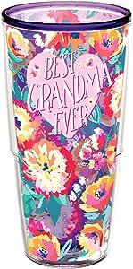 Tervis 1286286 Best Grandma Ever 字样印花隔热玻璃杯,含包装层 473 毫升 紫水晶色 24 oz 1292561