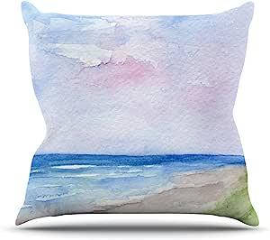 Kess InHouse Rosie 棕色湿沙海滩景观室内/室外抱枕 18 x 18 英寸(长x宽) 棕色 RB1029AOP03