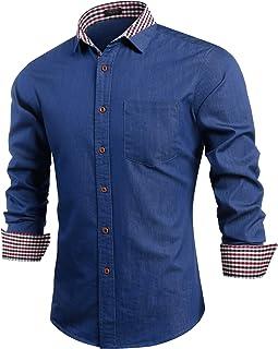 COOFANDY 休闲长袖休闲牛仔衬衫