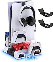 PS5 冷却支架,带 2 件装耳机和控制器支架配件套件,YUANHOT 快速充电站底座,带冷却风扇系统和游戏和媒体遥控存储,适用于 Playstation 5