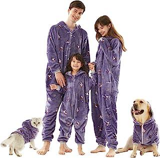 圣诞家庭睡衣配套套装,法兰绒连体睡衣连帽拉链睡衣,适合成人儿童宠物