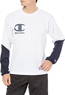 [Champion] 训练长袖T恤 减轻汗水 防粘性 吸水扩散 高透气 * 防臭 手写体徽标 排球Advance Line C3-UV420 男士