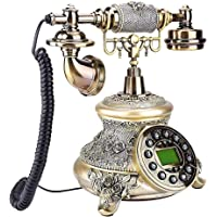 fosa 复古复古复古风格手机,经典欧洲电话桌 FSK/DTMF 单按钮重拨陆地线电话带 38 个主叫号码 记录,适用于…